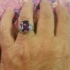 Princess Amethyst 925 sterling silver ring -8